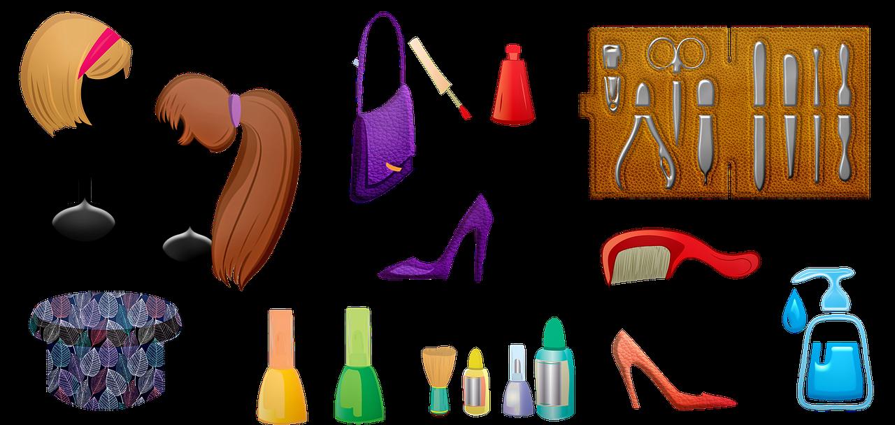 women's accessories, wigs, nail polish